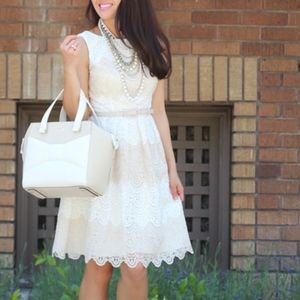 White House Black Market Lace Cream A-Line Dress